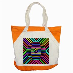 Optical Illusion Line Wave Chevron Rainbow Colorfull Accent Tote Bag