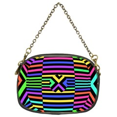 Optical Illusion Line Wave Chevron Rainbow Colorfull Chain Purses (two Sides)