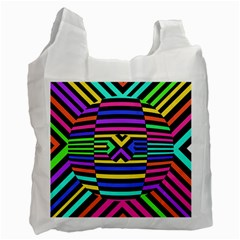 Optical Illusion Line Wave Chevron Rainbow Colorfull Recycle Bag (two Side)