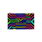 Optical Illusion Line Wave Chevron Rainbow Colorfull Cosmetic Bag (Small)  Front
