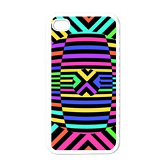 Optical Illusion Line Wave Chevron Rainbow Colorfull Apple Iphone 4 Case (white)