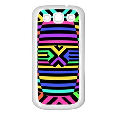 Optical Illusion Line Wave Chevron Rainbow Colorfull Samsung Galaxy S3 Back Case (white)