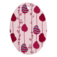 Original Tree Bird Leaf Flower Floral Pink Wave Chevron Blue Polka Dots Ornament (oval)