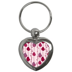 Original Tree Bird Leaf Flower Floral Pink Wave Chevron Blue Polka Dots Key Chains (heart)