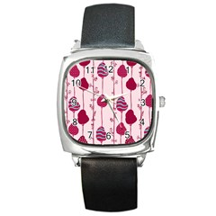 Original Tree Bird Leaf Flower Floral Pink Wave Chevron Blue Polka Dots Square Metal Watch