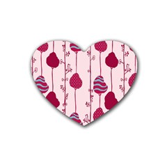 Original Tree Bird Leaf Flower Floral Pink Wave Chevron Blue Polka Dots Rubber Coaster (heart)