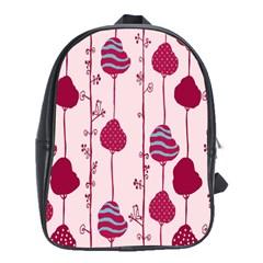 Original Tree Bird Leaf Flower Floral Pink Wave Chevron Blue Polka Dots School Bag (large)