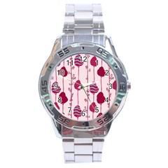Original Tree Bird Leaf Flower Floral Pink Wave Chevron Blue Polka Dots Stainless Steel Analogue Watch