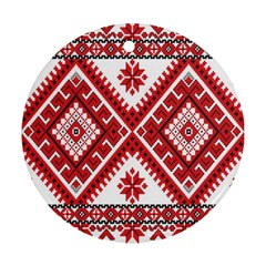 Model Traditional Draperie Line Red White Triangle Ornament (round)
