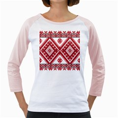 Model Traditional Draperie Line Red White Triangle Girly Raglans