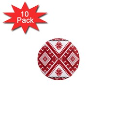 Model Traditional Draperie Line Red White Triangle 1  Mini Magnet (10 Pack)