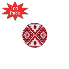 Model Traditional Draperie Line Red White Triangle 1  Mini Buttons (100 Pack)