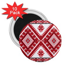 Model Traditional Draperie Line Red White Triangle 2 25  Magnets (10 Pack)