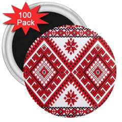 Model Traditional Draperie Line Red White Triangle 3  Magnets (100 Pack)