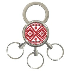 Model Traditional Draperie Line Red White Triangle 3 Ring Key Chains