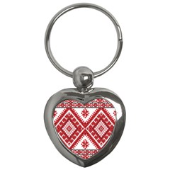 Model Traditional Draperie Line Red White Triangle Key Chains (heart)