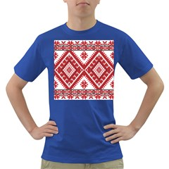 Model Traditional Draperie Line Red White Triangle Dark T Shirt