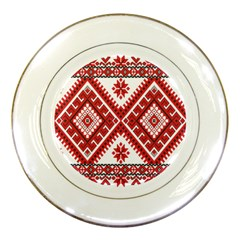 Model Traditional Draperie Line Red White Triangle Porcelain Plates