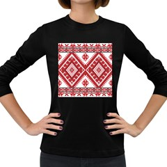 Model Traditional Draperie Line Red White Triangle Women s Long Sleeve Dark T Shirts