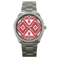 Model Traditional Draperie Line Red White Triangle Sport Metal Watch