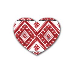 Model Traditional Draperie Line Red White Triangle Heart Coaster (4 Pack)