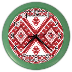 Model Traditional Draperie Line Red White Triangle Color Wall Clocks