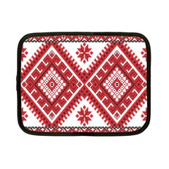 Model Traditional Draperie Line Red White Triangle Netbook Case (small)