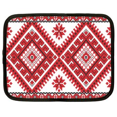 Model Traditional Draperie Line Red White Triangle Netbook Case (large)