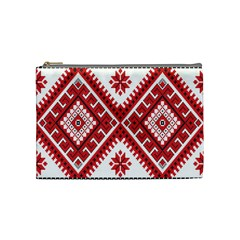Model Traditional Draperie Line Red White Triangle Cosmetic Bag (medium)