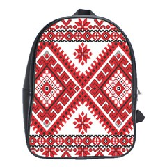 Model Traditional Draperie Line Red White Triangle School Bag (large)