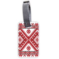 Model Traditional Draperie Line Red White Triangle Luggage Tags (two Sides)