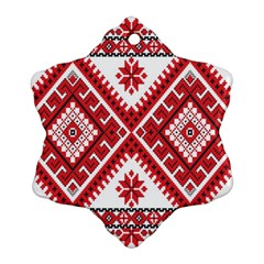 Model Traditional Draperie Line Red White Triangle Snowflake Ornament (two Sides)