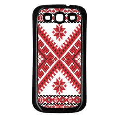 Model Traditional Draperie Line Red White Triangle Samsung Galaxy S3 Back Case (black)