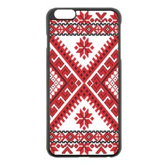 Model Traditional Draperie Line Red White Triangle Apple Iphone 6 Plus/6s Plus Black Enamel Case