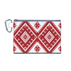 Model Traditional Draperie Line Red White Triangle Canvas Cosmetic Bag (m)