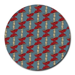 Mushroom Madness Red Grey Polka Dots Round Mousepads