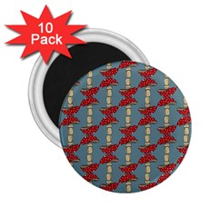 Mushroom Madness Red Grey Polka Dots 2 25  Magnets (10 Pack)