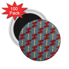 Mushroom Madness Red Grey Polka Dots 2 25  Magnets (100 Pack)