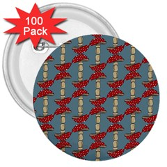 Mushroom Madness Red Grey Polka Dots 3  Buttons (100 Pack)