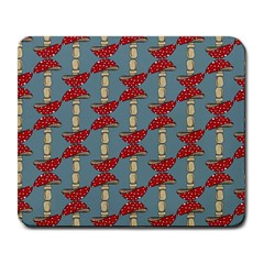 Mushroom Madness Red Grey Polka Dots Large Mousepads