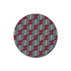 Mushroom Madness Red Grey Polka Dots Rubber Round Coaster (4 Pack)