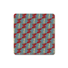 Mushroom Madness Red Grey Polka Dots Square Magnet