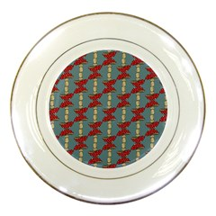 Mushroom Madness Red Grey Polka Dots Porcelain Plates
