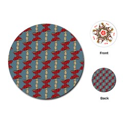 Mushroom Madness Red Grey Polka Dots Playing Cards (round)