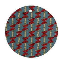 Mushroom Madness Red Grey Polka Dots Round Ornament (two Sides)