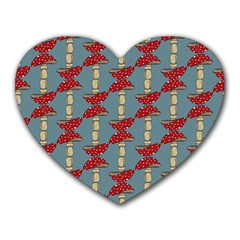 Mushroom Madness Red Grey Polka Dots Heart Mousepads