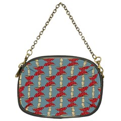 Mushroom Madness Red Grey Polka Dots Chain Purses (one Side)