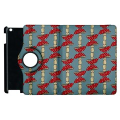 Mushroom Madness Red Grey Polka Dots Apple Ipad 2 Flip 360 Case