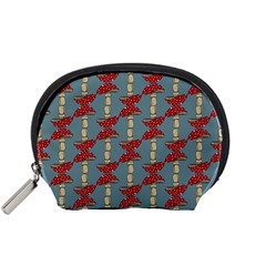 Mushroom Madness Red Grey Polka Dots Accessory Pouches (small)