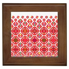 Plaid Red Star Flower Floral Fabric Framed Tiles